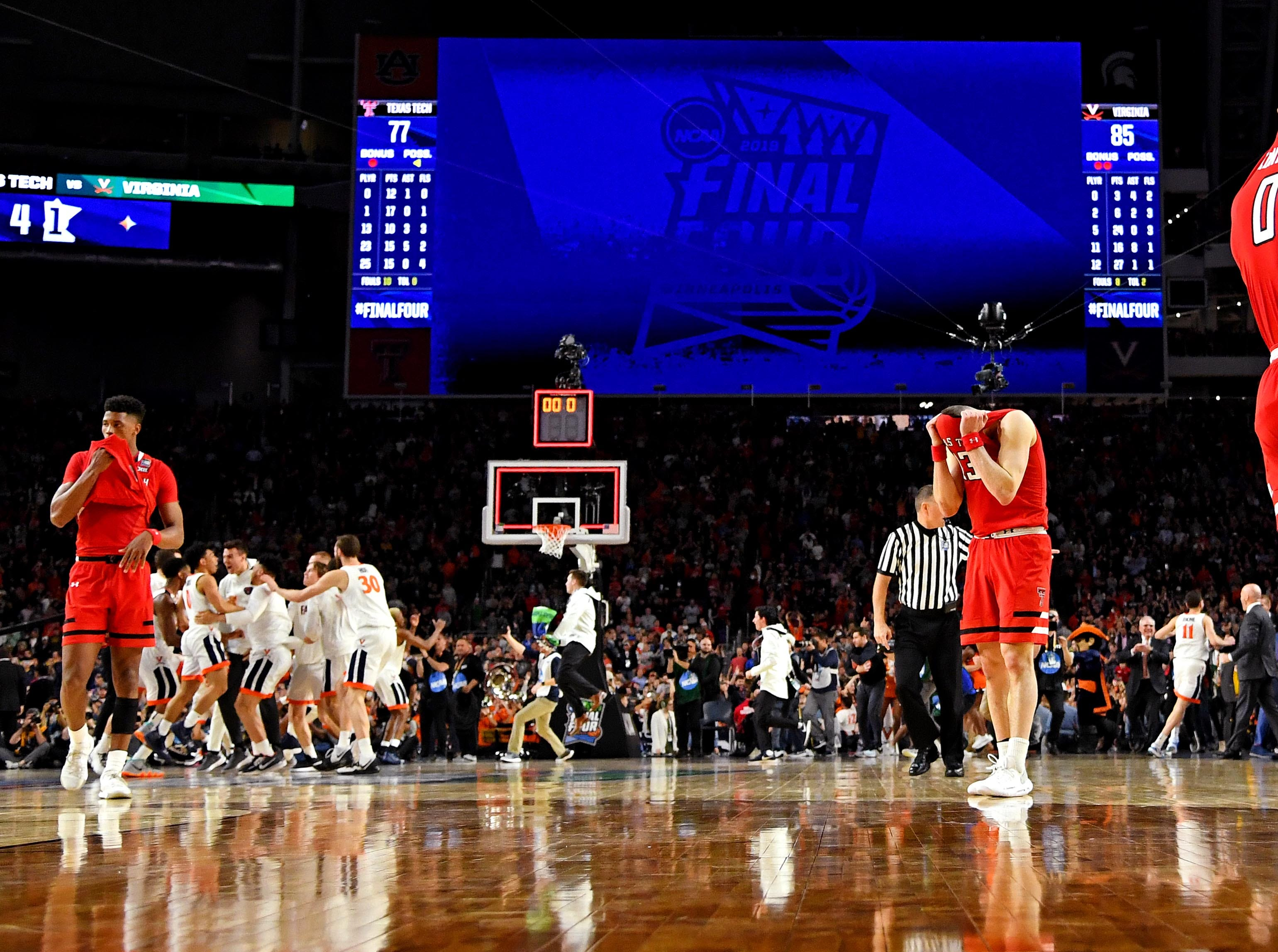 Apr 8, 2019; Minneapolis, MN, USA; Texas Tech Red Raiders guard Kyler Edwards (0) reacts after losing to the Virginia Cavaliers in the championship game of the 2019 men's Final Four at US Bank Stadium. Mandatory Credit: Bob Donnan-USA TODAY Sports
