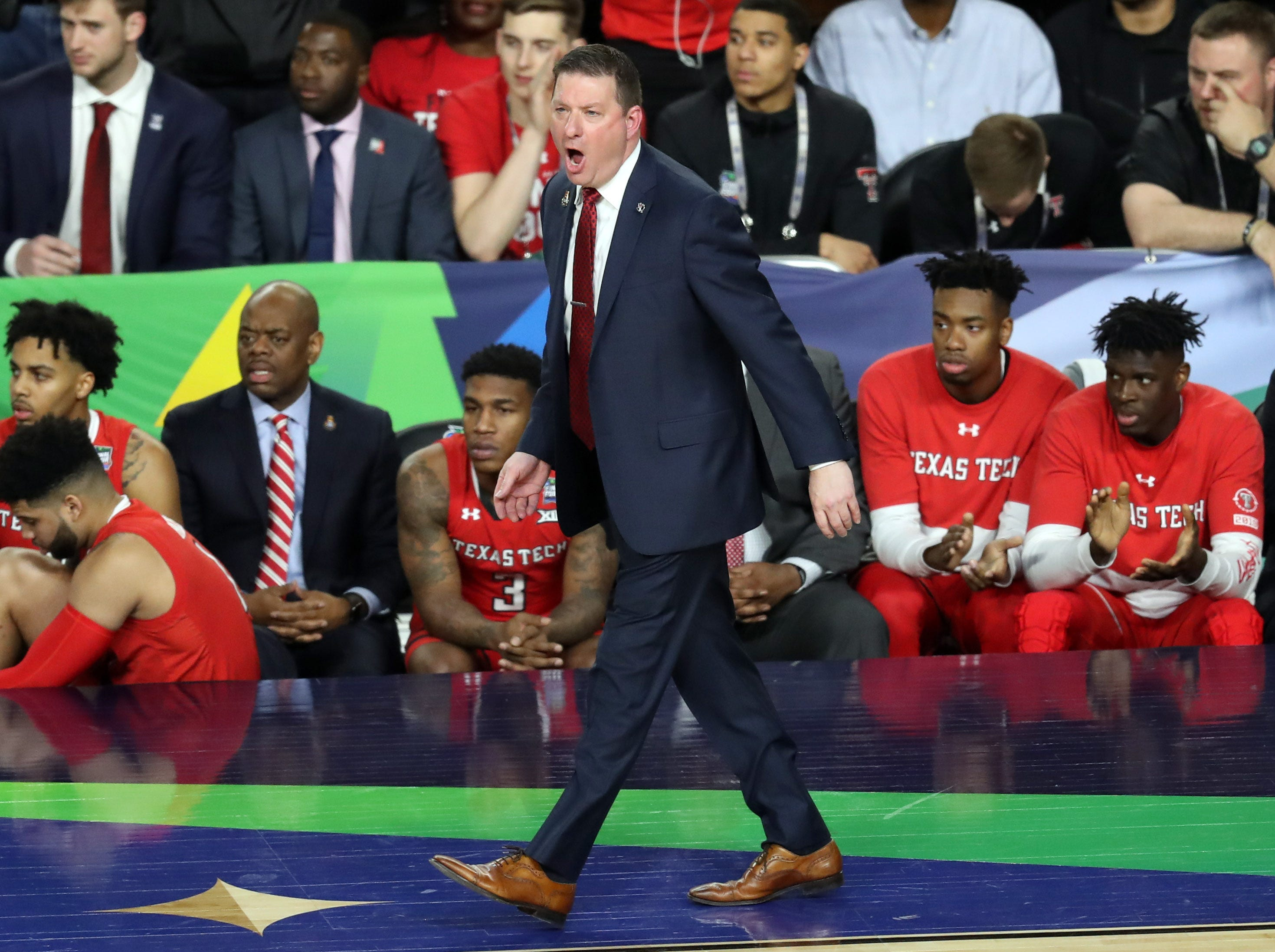 Apr 8, 2019; Minneapolis, MN, USA; Texas Tech Red Raiders head coach Chris Beard  during the first half against the Virginia Cavaliers in the championship game of the 2019 men's Final Four at US Bank Stadium. Mandatory Credit: Brace Hemmelgarn-USA TODAY Sports