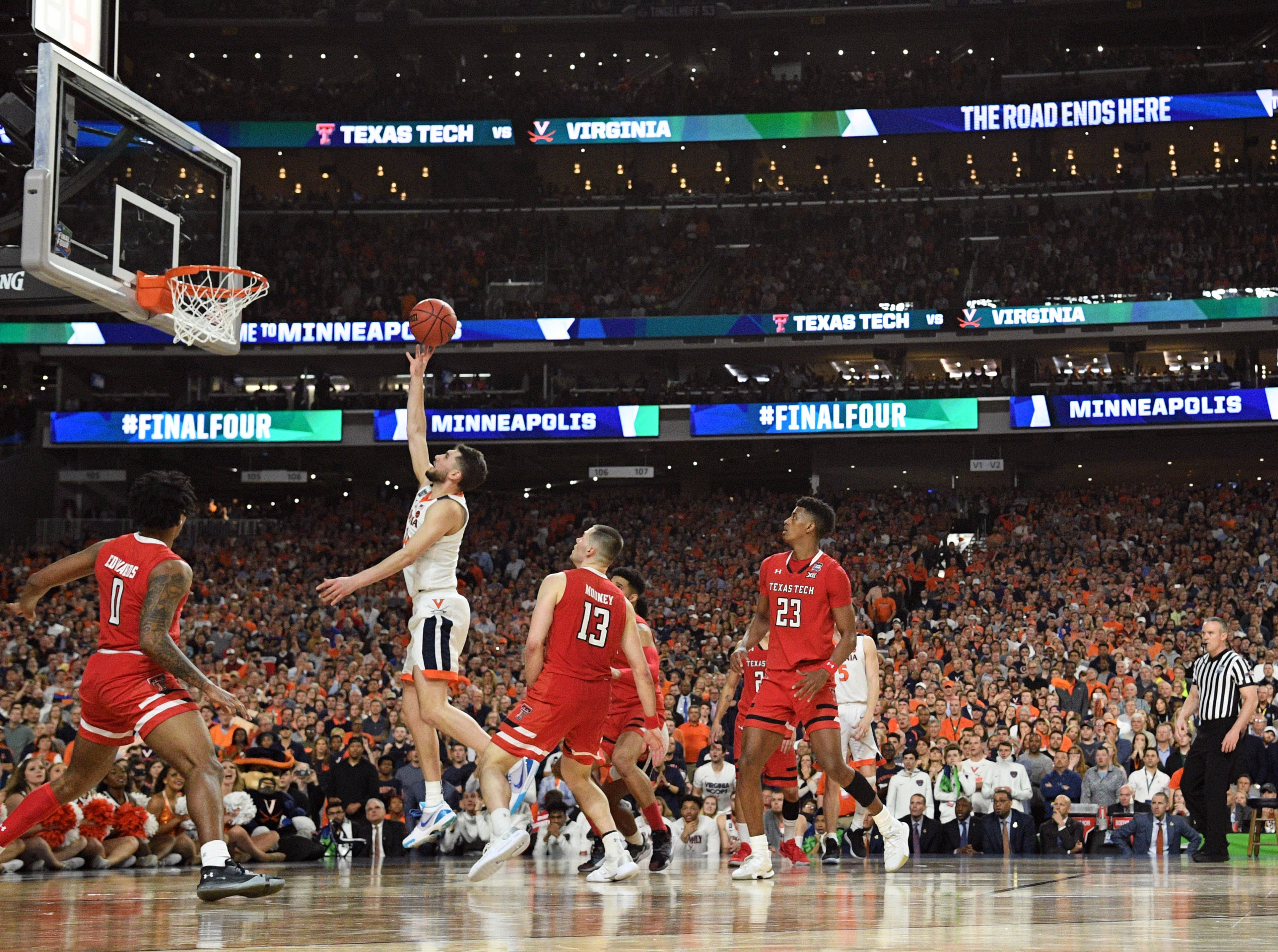 Apr 8, 2019; Minneapolis, MN, USA; Virginia Cavaliers guard Ty Jerome (11) shoots against the Texas Tech Red Raiders in overtime in the championship game of the 2019 men's Final Four at US Bank Stadium. Mandatory Credit: Robert Deutsch-USA TODAY Sports