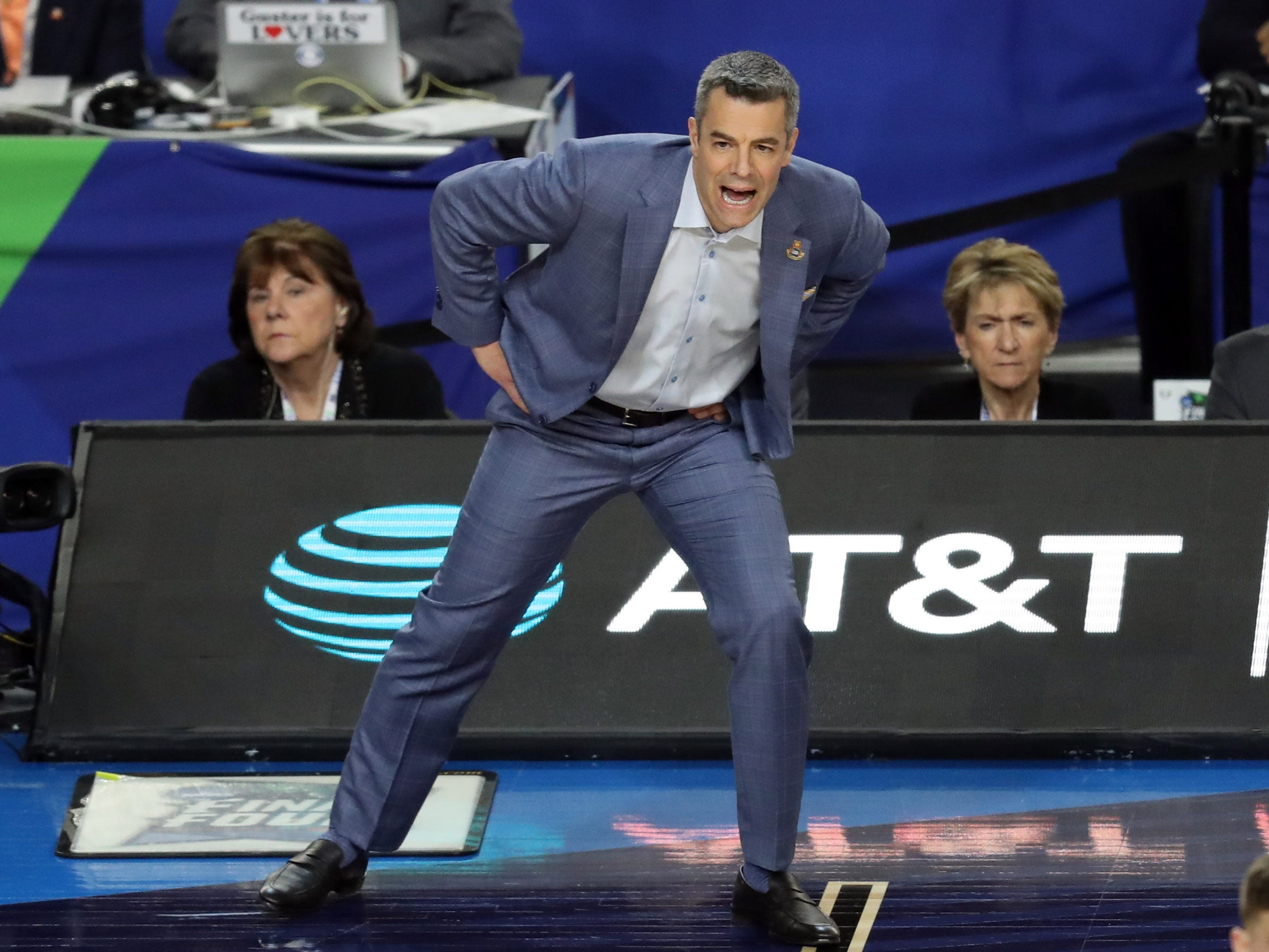 Apr 8, 2019; Minneapolis, MN, USA; Virginia Cavaliers head coach Tony Bennett reacts during the first half against the Texas Tech Red Raiders in the championship game of the 2019 men's Final Four at US Bank Stadium. Mandatory Credit: Brace Hemmelgarn-USA TODAY Sports