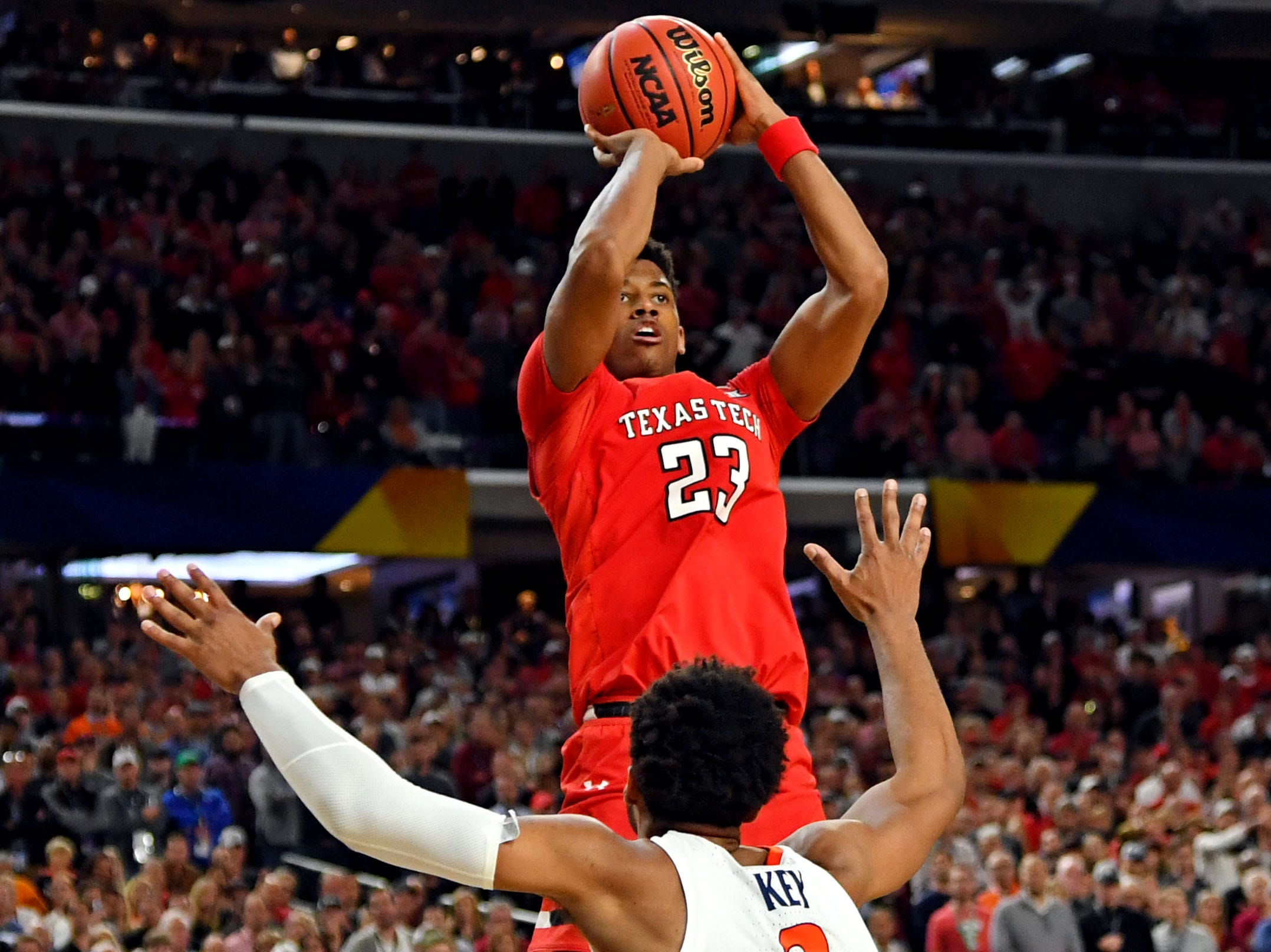 Apr 8, 2019; Minneapolis, MN, USA; Texas Tech Red Raiders guard Jarrett Culver (23) shoots the ball against Virginia Cavaliers guard Braxton Key (2) during overtime in the championship game of the 2019 men's Final Four at US Bank Stadium. Mandatory Credit: Bob Donnan-USA TODAY Sports