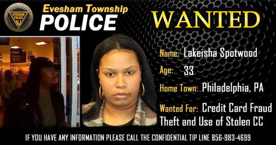 This Philadelphia woman is wanted for allegedly stealing a victim's wallet from her purse while she dined at a Marlton restaurant, then using the victim's credit cards to make purchases.