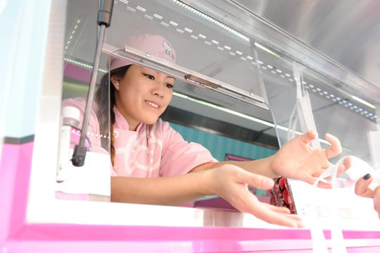 Serving fans from the Hello Kitty Cafe Truck.