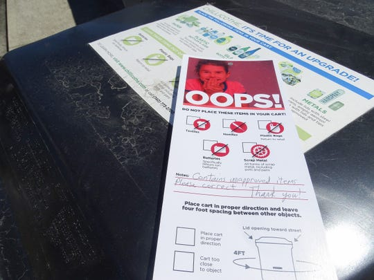 If a recycling bin contains material it shouldn't Chillicothe crew members will place an oops card in the bin to let residents know there needs to be a correction.