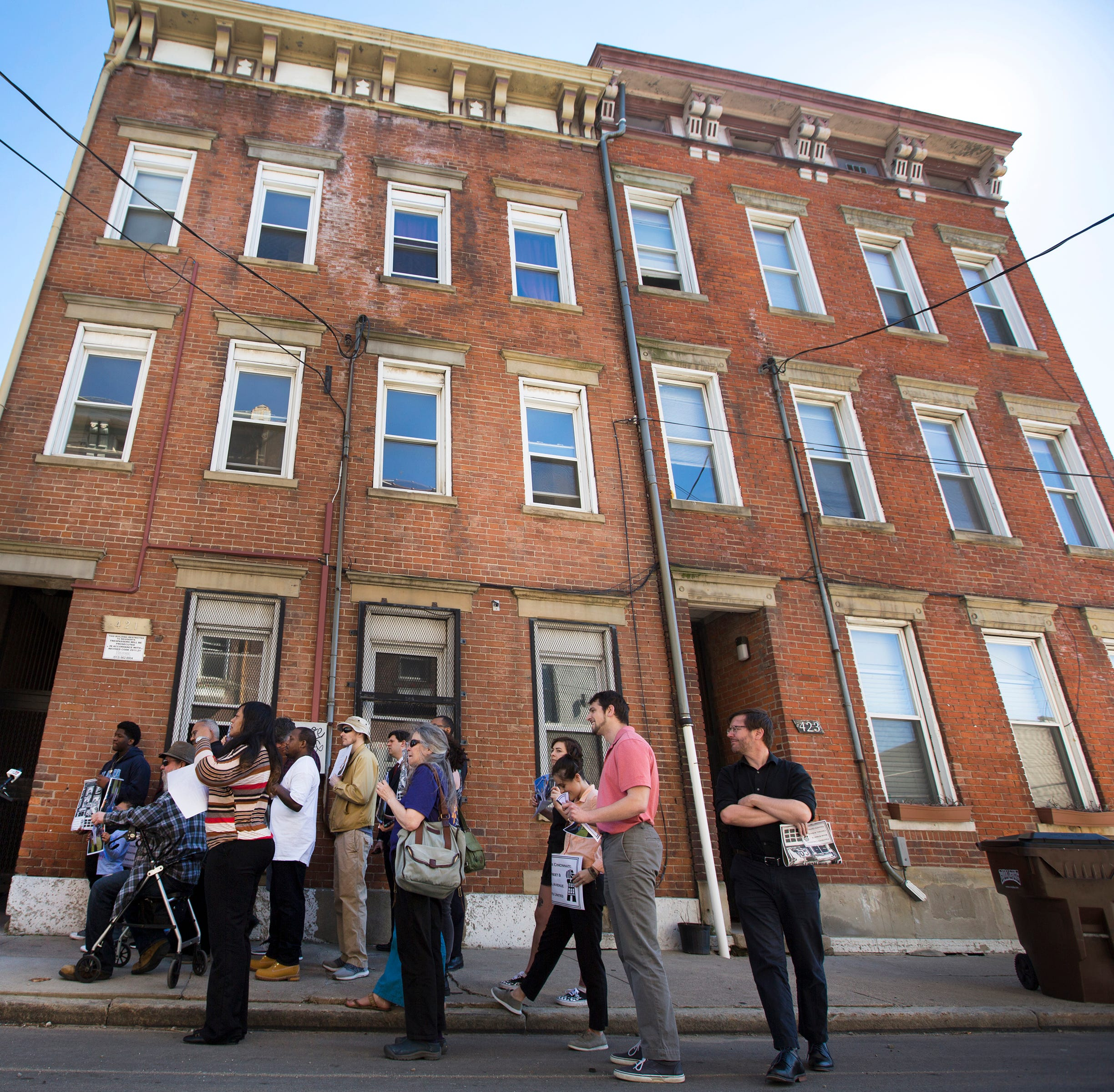 Fight Back Cincinnati: Wade street and Central Avenue Tenants United hold a press conference in front of an apartment building on Wade Street in the West end. The building overlooks the new FC Cincinnati stadium. Tenants, including 99-year-old Mary Page, are facing displacement.