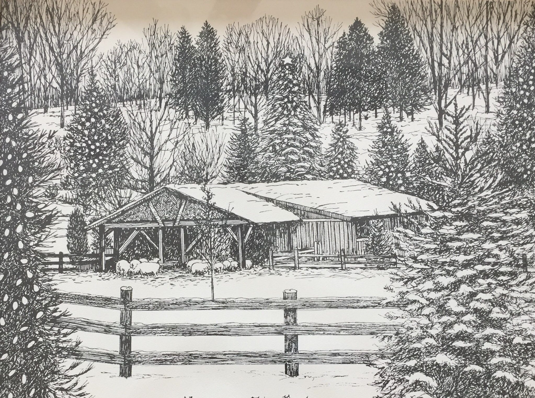 This is a print of Eden Park at Christmas, given during Christmas time by Thom Van Benschoten