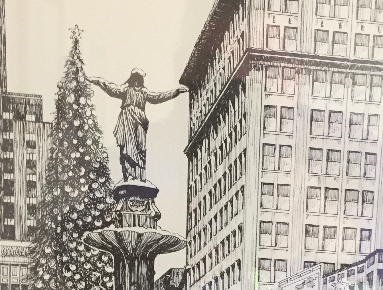 This is Thom Van Benschoten's print of Fountain Square at Christmas.