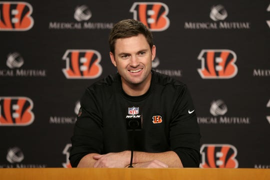 Cincinnati Bengals head coach Zac Taylor answers questions from the press after the first day of offseason workouts, Tuesday, April 9, 2019, at Paul Brown Stadium in Cincinnati.
