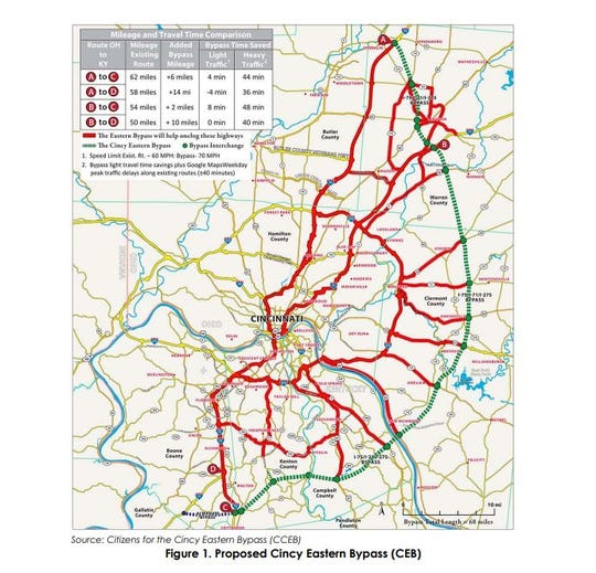 A screenshot from Kentucky's Brent Spence Strategic Corridor Study shows the proposed Eastern Bypass.