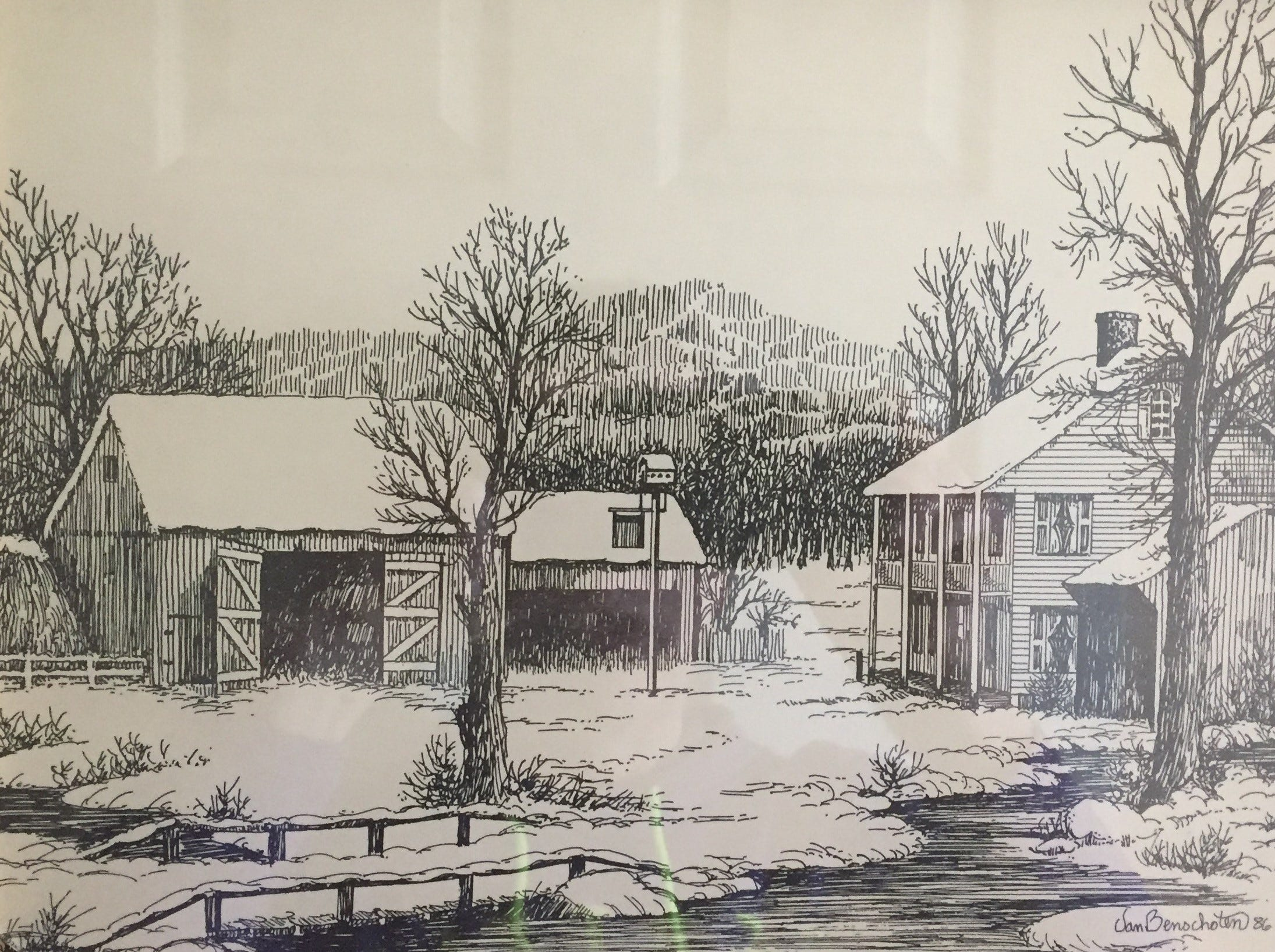 This is a home and barn during winter, another print by Thom Van Benschoten given as a Christmas gift.