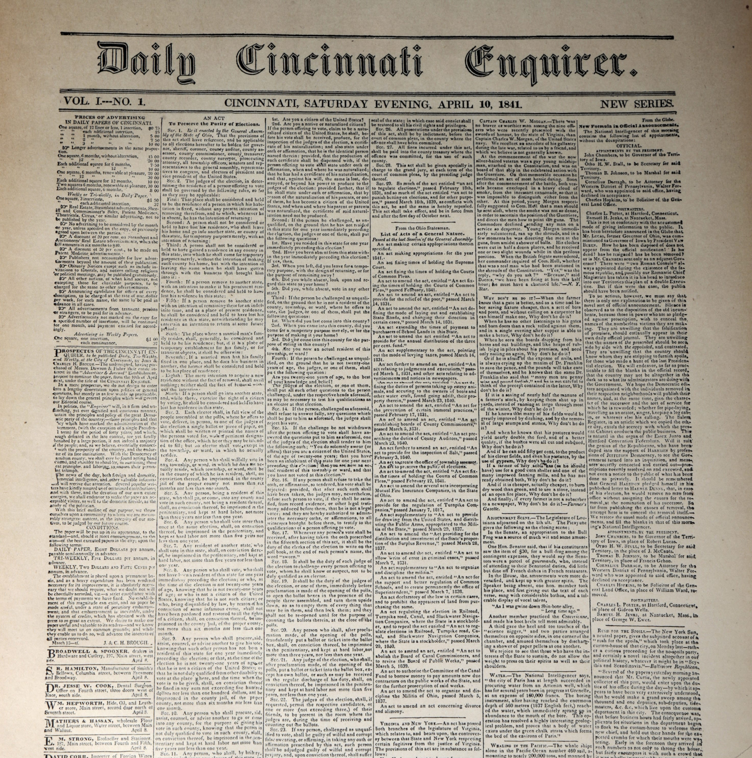 Our History: Enquirer has adapted over its long history since 1841
