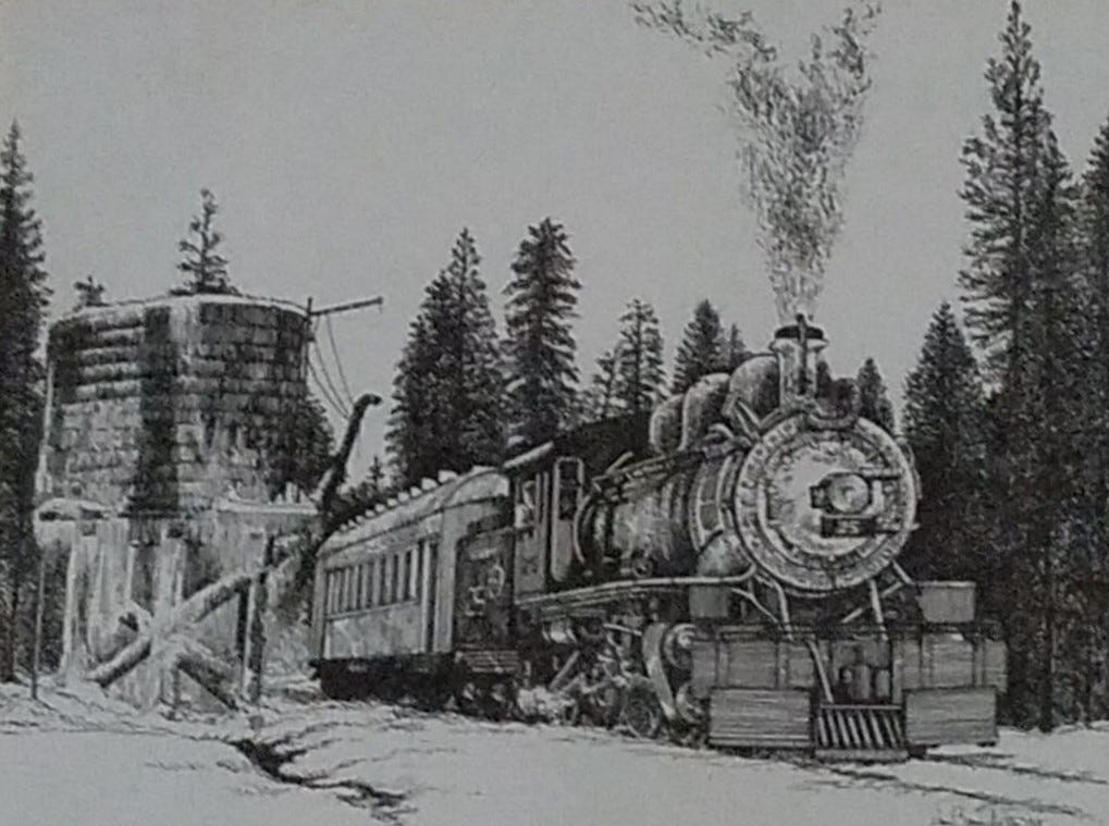 This train in the winter time was a print provided as a gift by Thom Van Benschoten to co-workers.