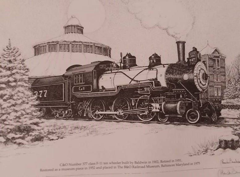 This is the C&O Number 377 class F-11 ten-wheeler built by Baldwin in 1902 and retired in 1951. It was restored as a museum piece in 1952 at The B&O Railroad Museum, Baltimore, Maryland, 1975.