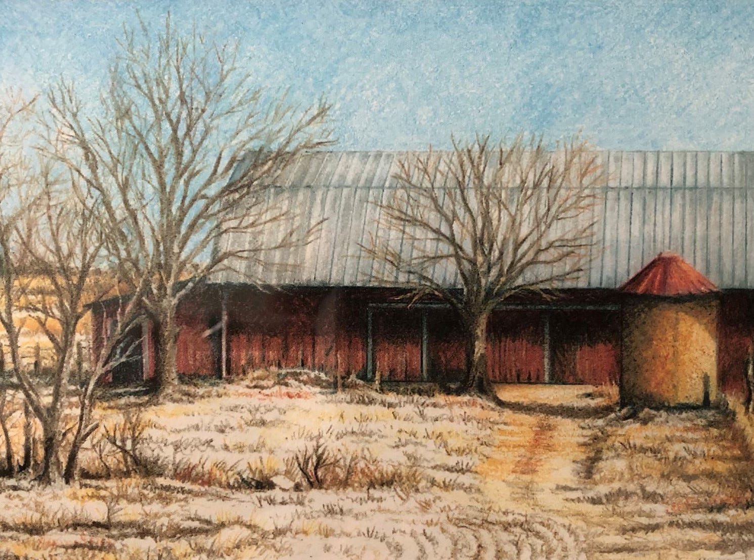 Thom Van Benschoten gave this pencil-drawing print as a Christmas gift of a barn.