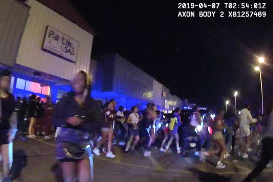 A screen capture from bodycam footage from teens dispersing from Playtime USA, in Mt. Healthy, on April 6.