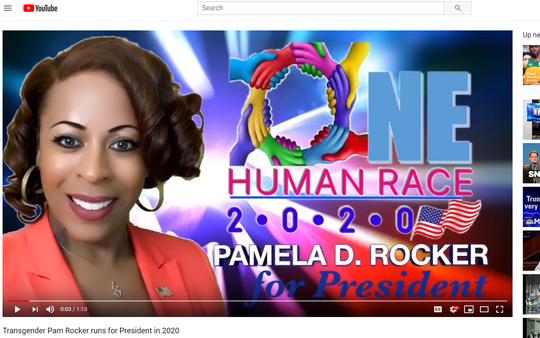 A screen grab of Pamela Rocker's campaign web site