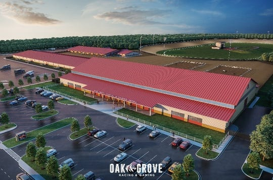 An artist rendering shows the equestrian facility that will make up the multimillion-dollar Oak Grove Racing & Gaming venue, which broke ground Tuesday, April 9, 2019, off Fort Campbell Boulevard in Oak Grove.