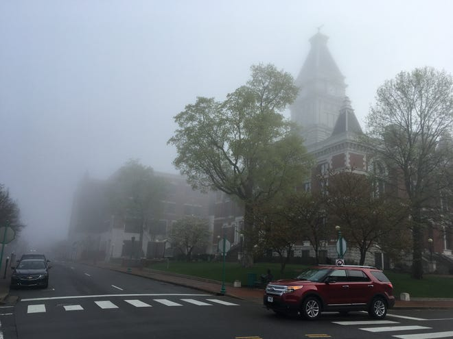 Fog decreased visibility to only about one block in Clarksville on Tuesday morning, April 9, 2019.