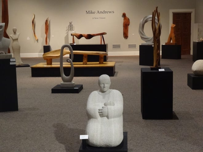The show, titled A New Vision, includes over forty pieces made of wood, limestone, or alabaster. Large figurative pieces like Theologian hold court across the gallery floor, while smaller sculptures, like James and Kay and Windblown float along the walls with dancing shadows.