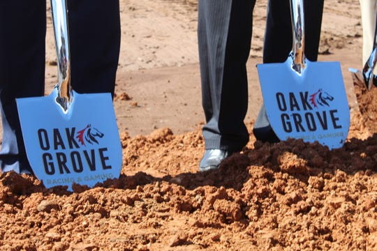 Officials break ground on the multimillion-dollar Oak Grove Racing & Gaming venue off Fort Campbell Boulevard in Oak Grove on April 9, 2019.
