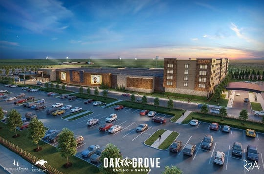 An artist rendering of the multi-million dollar Oak Grove Racing & Gaming facility that broke ground Tuesday, April 9, 2019, off Fort Campbell Boulevard in Oak Grove.