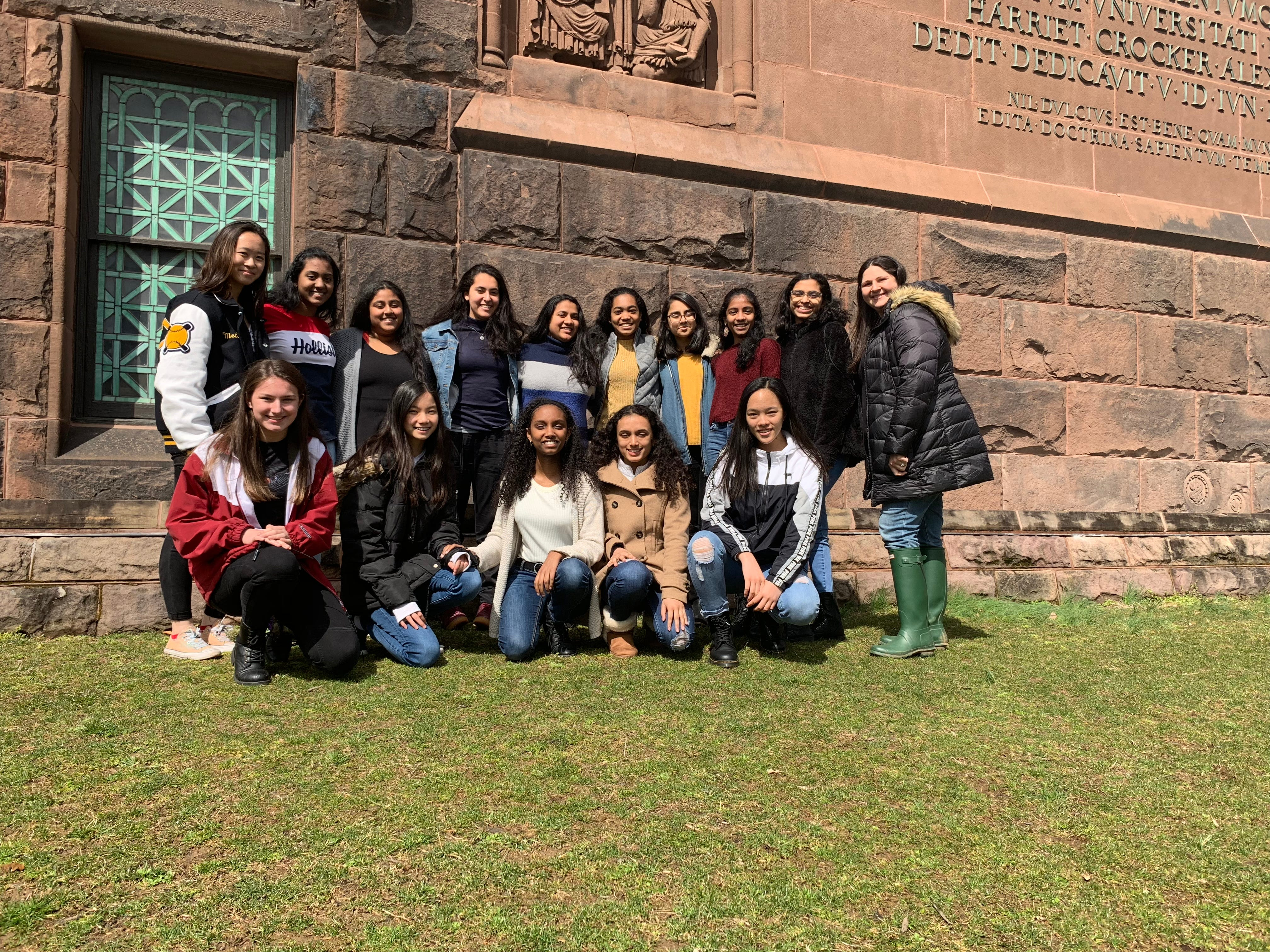 SCVTHS students (back l-r) Melissa Lam of Bound Brook, Naimisha Vidavalapati of Somerset, Ananya Putta, Fayrooz Abdelkader of Bridgewater, Natasha Mody of Martinsville, Rayhanah Ahmed of Bound Brook, Isha Shah, Michelle Wilfred, Vinitha Vivek of Hillsborough, SCVTHS Supervisor of Academics Randee Holz, (front l-r) Kate Kinst of Hillsborough, Rachel Yuh of Somerset, Sharon Samuel of Hillsborough, Aarhsa Shah and Charlene Cai of Bridgewater at the Young Women's Conference in Science, Technology, Engineering & Mathematics held at Princeton University.