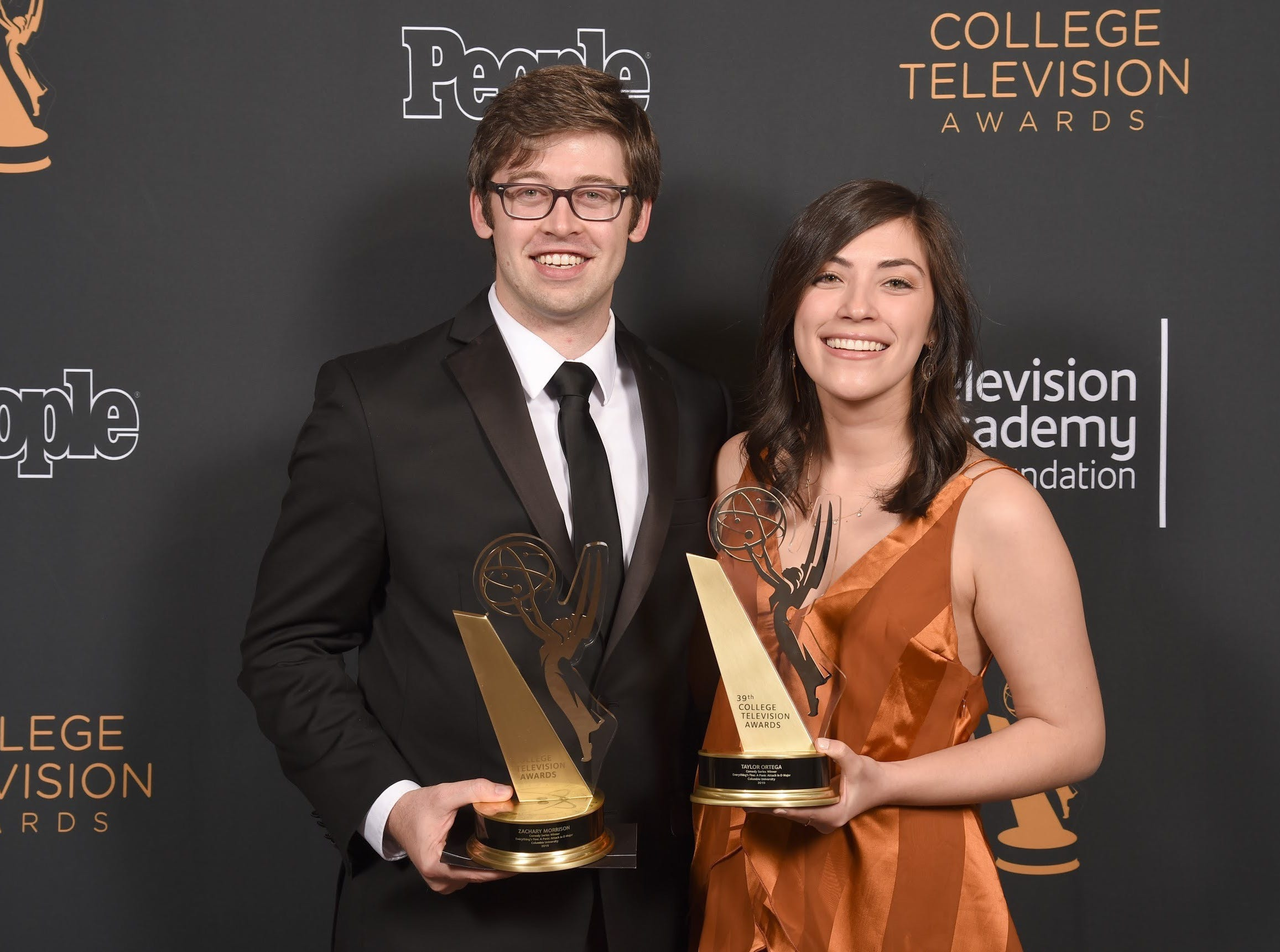 """East Brunswick's Zack Morrison, 27, here with producer Taylor Ortega, recently won a College Television Award — a College Emmy —for his Columbia University thesis film """"Everything's Fine: A Panic Attack in D Major."""""""