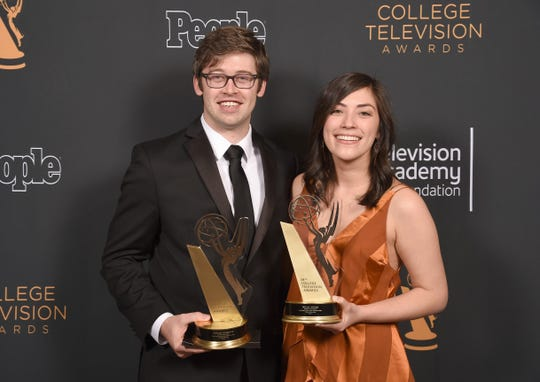 "East Brunswick's Zack Morrison, 27, here with producer Taylor Ortega, recently won a College Television Award — a College Emmy — for his Columbia University thesis film ""Everything's Fine: A Panic Attack in D Major."""