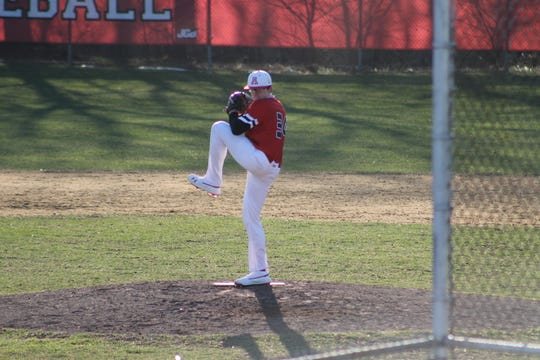 Kevin O'Neil pitching for Bishop Ahr last season