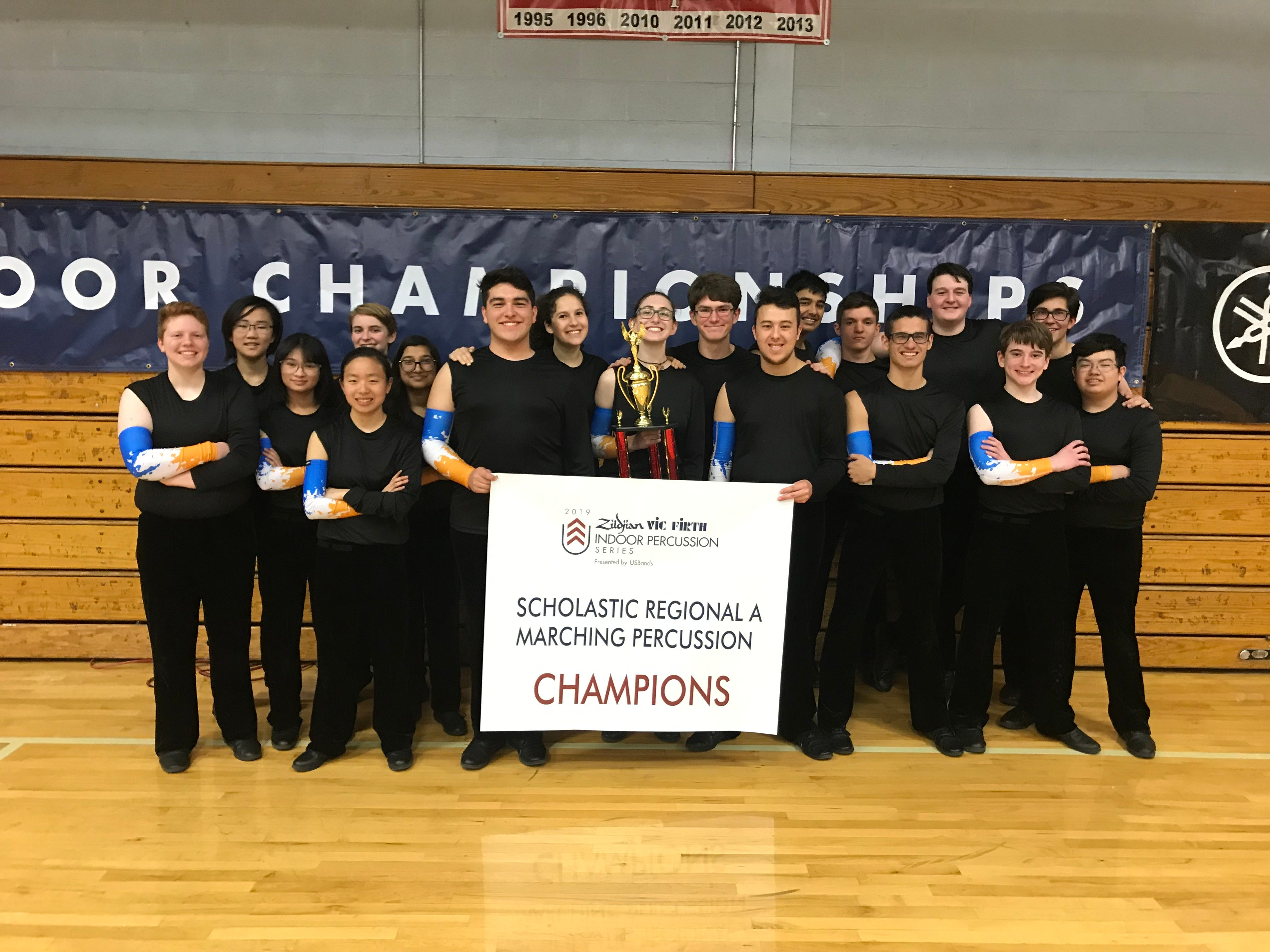 Spartans win first place in Indoor Drum Line competition.
