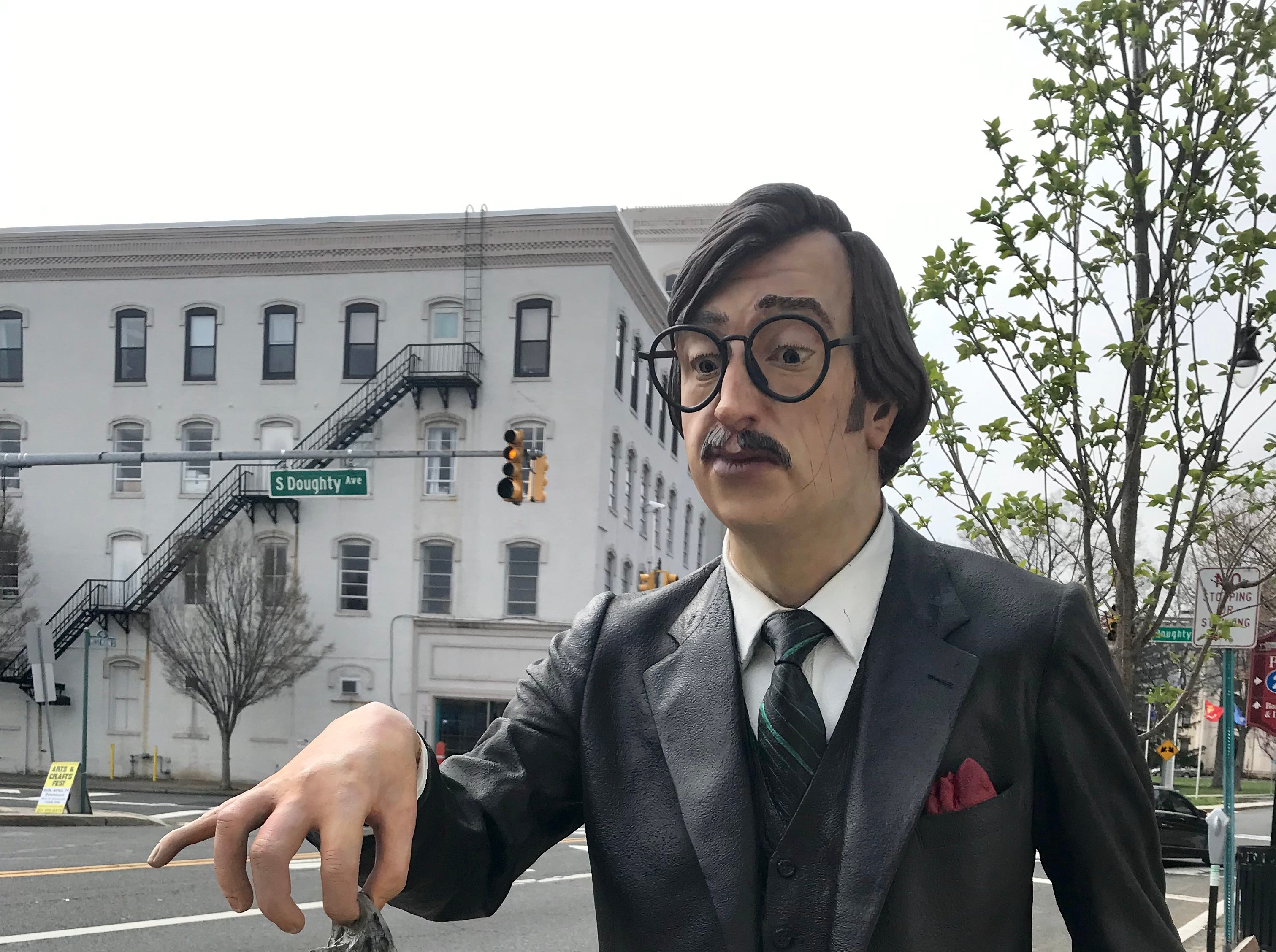 Life-like sculptures by Seward Johnson Atelier, who founded Grounds for Sculpture, can be found throughout Downtown Somerville until July 1.