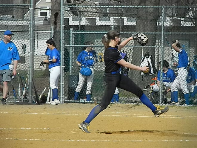 Metuchen's Annika Fricke pitches against Middlesex on Monday, April 8, 2019.