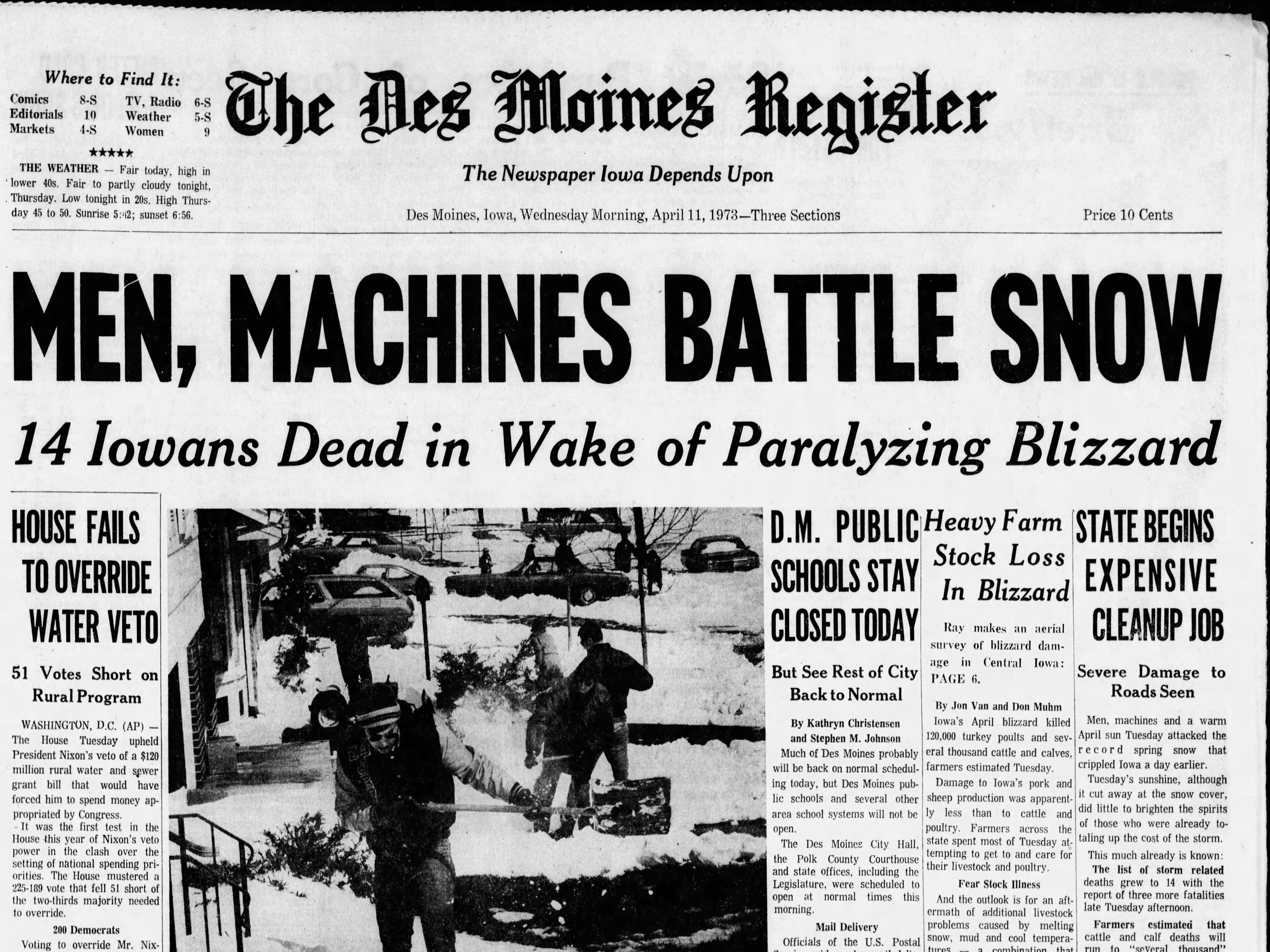 Page 1A of the April 11, 1973 Des Moines Register, with coverage of one of the worst spring blizzards ever recorded in April.