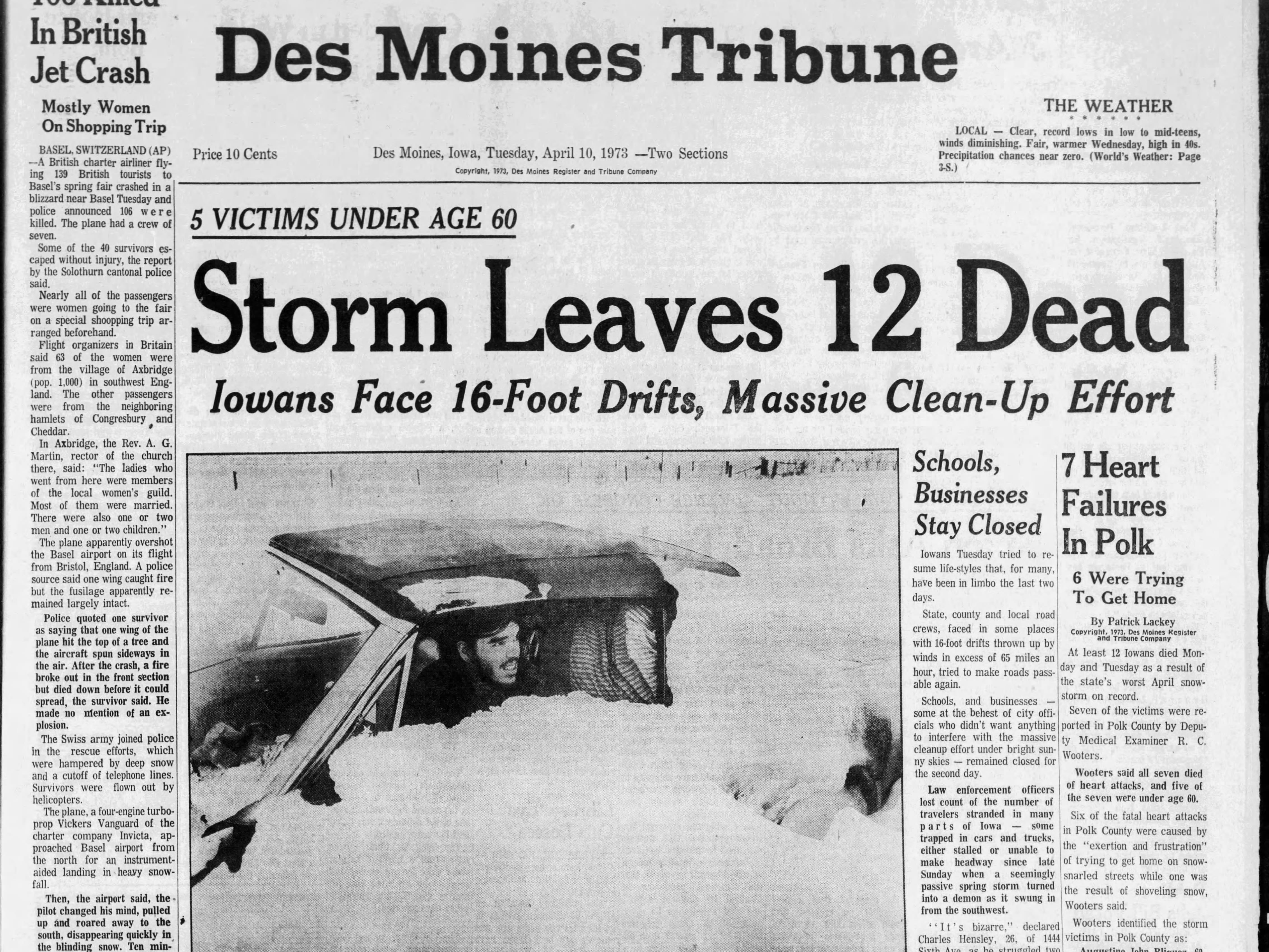Page 1A of the April 10, 1973 Des Moines Tribune, with coverage of one of the worst spring blizzards ever recorded in April.