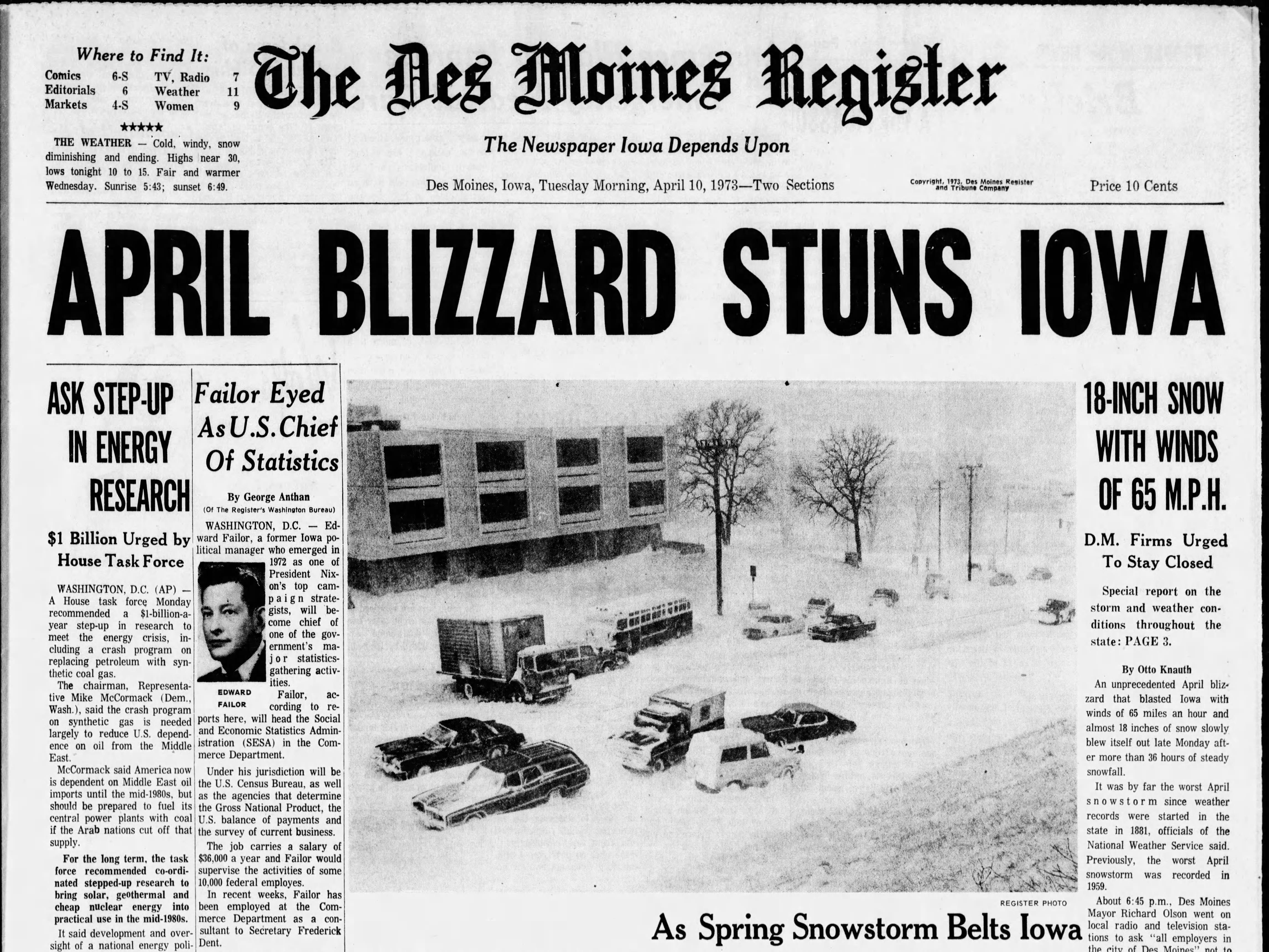 Page 1A of the April 10, 1973 Des Moines Register, with coverage of one of the worst spring blizzards ever recorded in April.