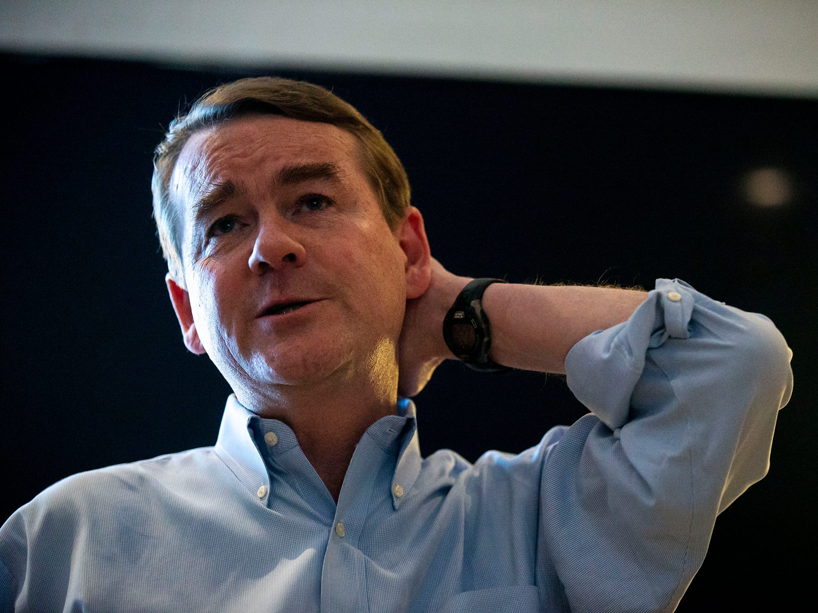 U.S. Sen. Michael Bennet, D-Colo, gives a speech and answers questions from the audience on Monday, April 8, 2019, during a meet and greet hosted by the Polk County Democrats at Teddy Maroon's in Des Moines.