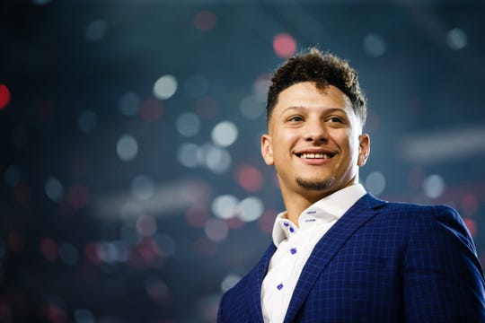 Kansas City Chiefs quarterback Patrick Mahomes on stage during the Exercising your Character event presented by Hy-Vee on Tuesday, April 9, 2019, in Des Moines.