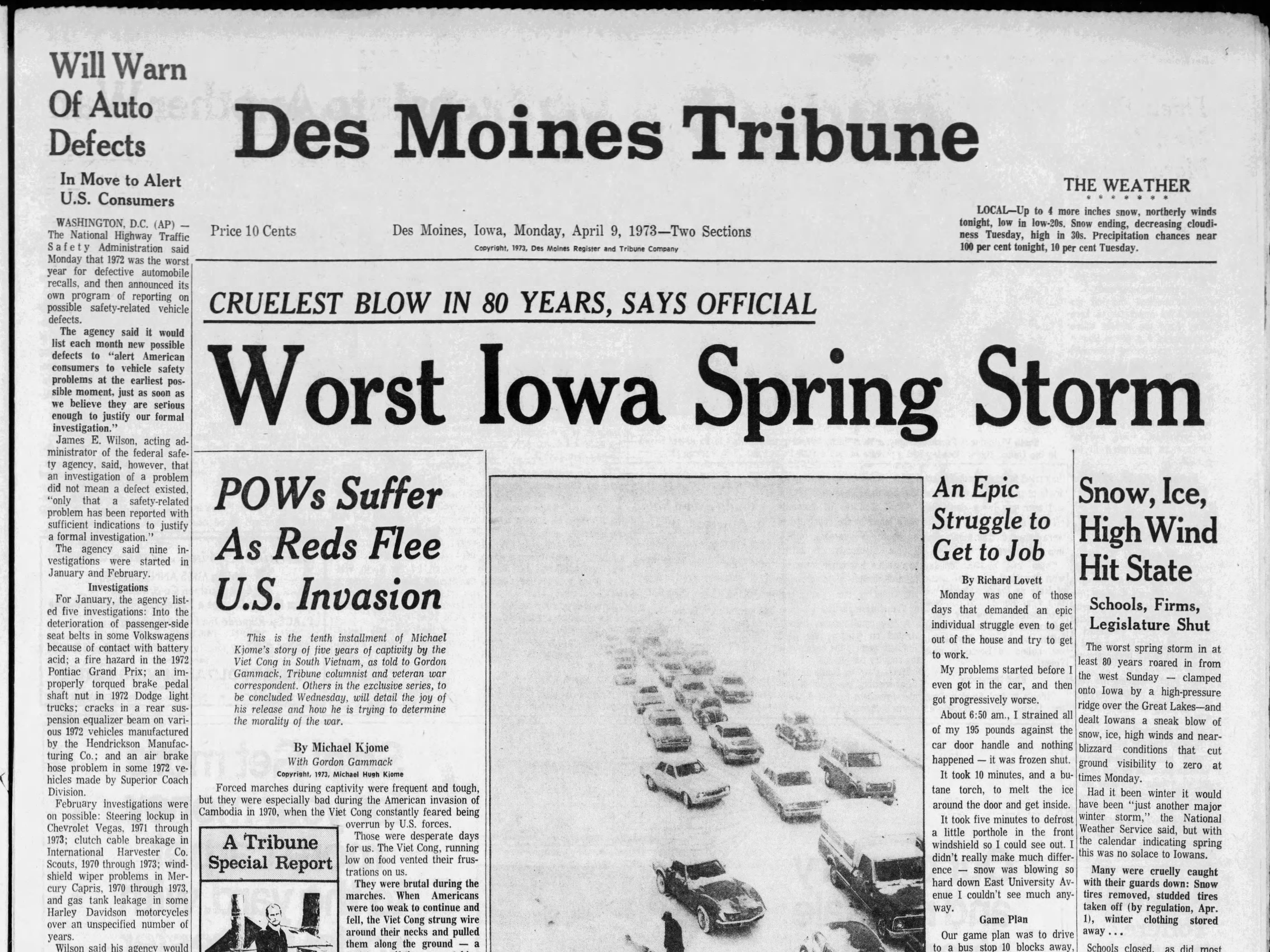 Page 1A of the April 9, 1973 Des Moines Tribune, with coverage of one of the worst spring blizzards ever recorded in April.