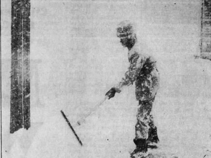 Leaning into a 40-mph wind, Teddy Hawthorne of 23rd Street in Des Moines attempts to clear a driveway after the 1973 April blizzard that dropped as much as 18 inches on some parts of Iowa.