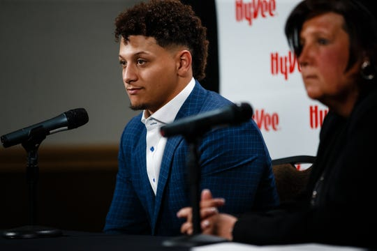 Kansas City Chiefs quarterback Patrick Mahomes answers questions from the press after the Exercising your Character event presented by Hy-Vee on Tuesday, April 9, 2019, in Des Moines.