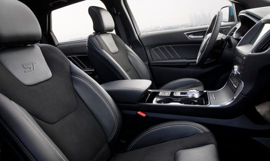 The Ford Edge ST's interior features leather seats with suede inserts.