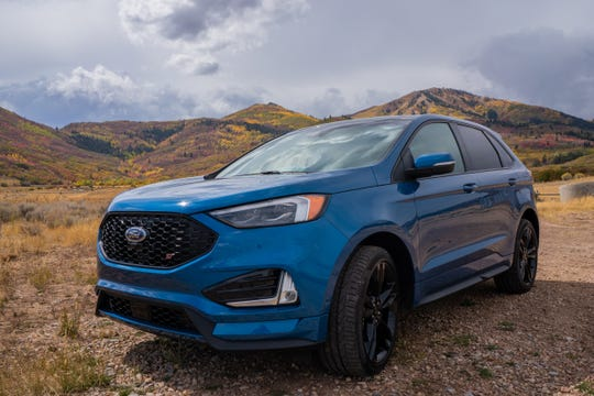 2019 Ford Edge ST. The ST is the performance version of Ford's popular five-passenger Edge midsize SUV.