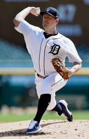 Tigers pitcher Jordan Zimmermann pitches during the second inning on Tuesday, April 9, 2019, at Comerica Park.