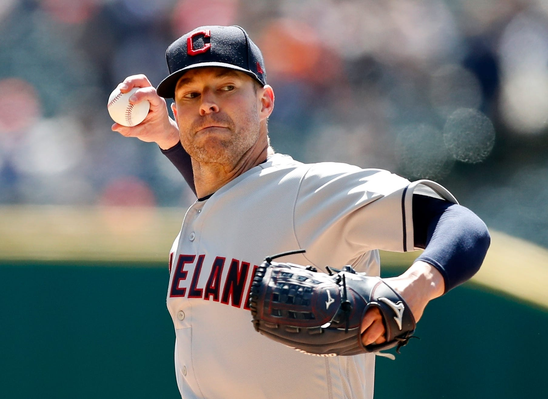 Indians pitcher Corey Kluber throws during the first inning on Tuesday, April 9, 2019, at Comerica Park.