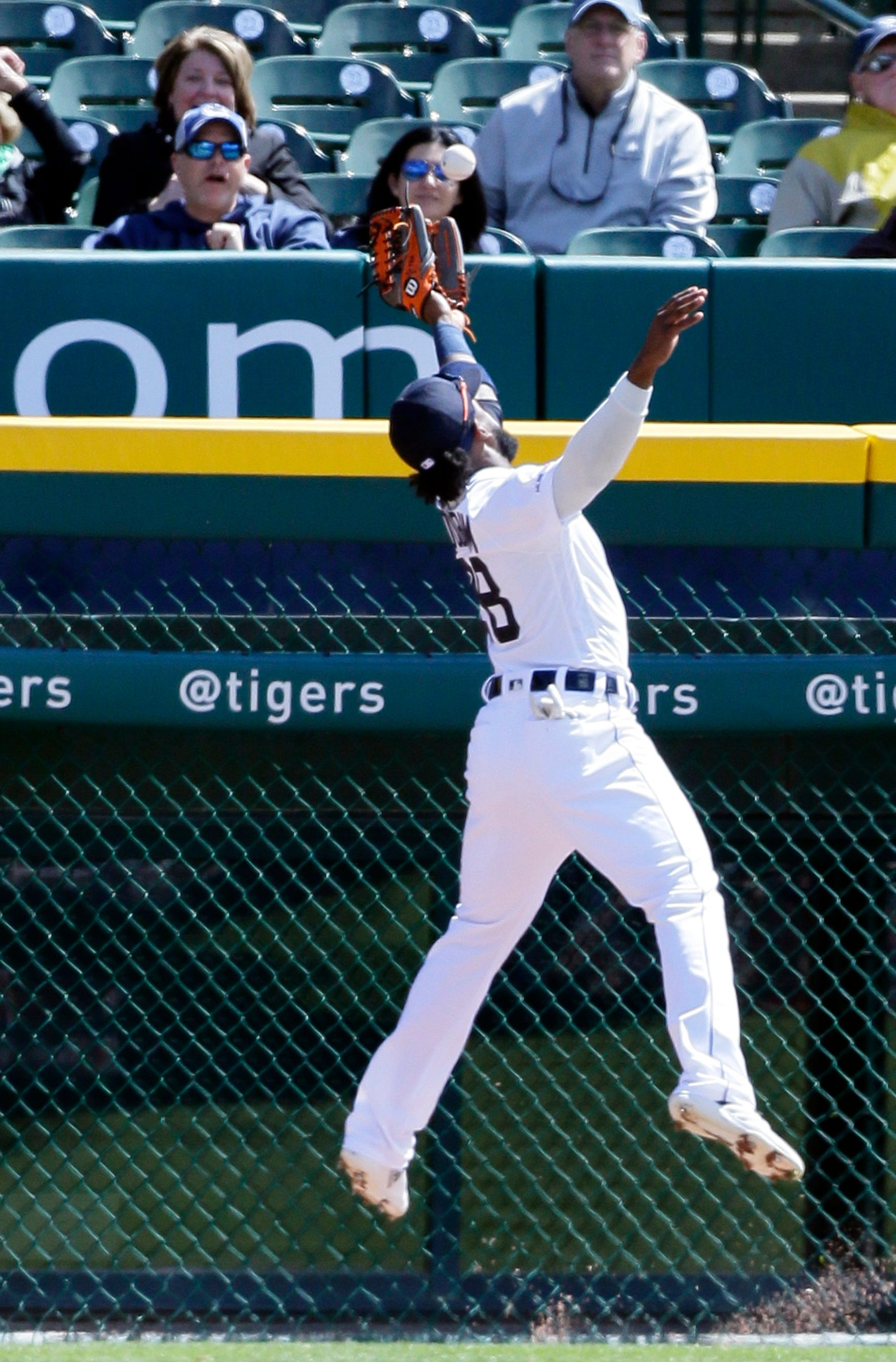 Tigers left fielder Niko Goodrum can't catch a double hit by Indians center fielder Tyler Naquin during the second inning on Tuesday, April 9, 2019, at Comerica Park.