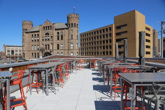 The rooftop patio at Lumen offers panoramic views of western downtown Detroit.