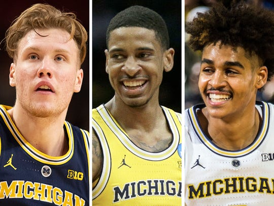From left: Ignas Brazdeikis, Charles Matthews and Jordan Poole.