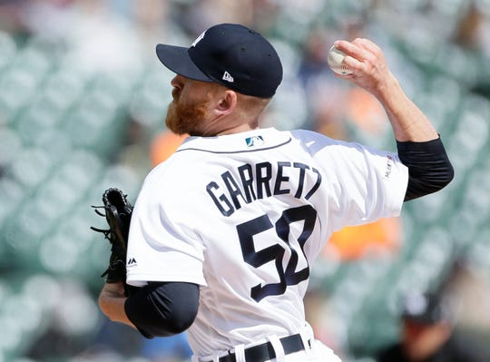 Reed Garrett #50 of the Detroit Tigers pitches against the Cleveland Indians during the seventh inning at Comerica Park on April 9, 2019 in Detroit, Michigan. The Indians defeated the Tigers 8-2.
