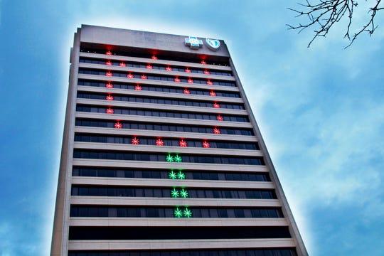 A tulip in lights aims at raising Parkinson's awareness at Blue Cross Blue Shield of Michigan.