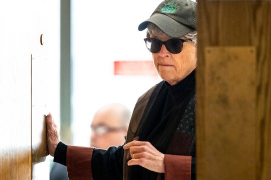 Ex-MSU president Lou Anna Simon appears for her preliminary hearing at the Eaton County Courthouse in Charlotte, Michigan, on Tuesday, April 9, 2019. Simon is accused of lying to police about her knowledge of a 2014 incident involving Larry Nassar's abuse of a patient at the MSU Sports Medicine Clinic.
